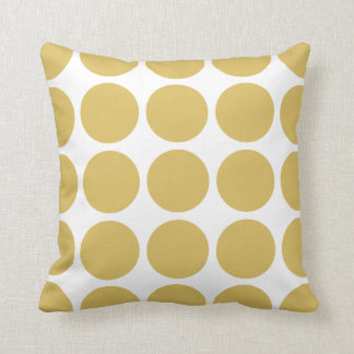 Gold and White Mod Polka Dots Reversible V09 Throw Pillow