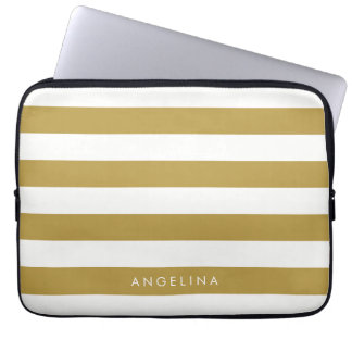 Gold and White Modern Striped Pattern Custom Name Computer Sleeve