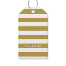Gold and White Modern Striped Pattern Custom Name Gift Tags