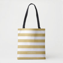 Gold and White Modern Striped Pattern Custom Name Tote Bag