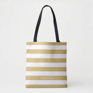 Gold and White Modern Striped Pattern Custom Name Tote Bag