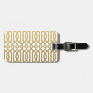 Gold and White Modern Trellis Pattern Bag Tag