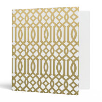 Gold and White Modern Trellis Pattern Binder