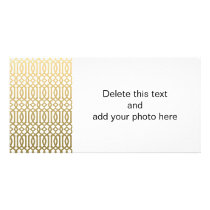 Gold and White Modern Trellis Pattern Card