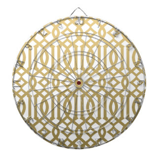 Gold and White Modern Trellis Pattern Dart Board