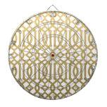 Gold and White Modern Trellis Pattern Dartboard
