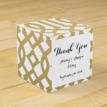 Gold and White Modern Trellis Pattern Favor Box