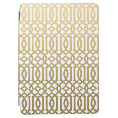 Gold And White Modern Trellis Pattern Ipad Air Cover at Zazzle