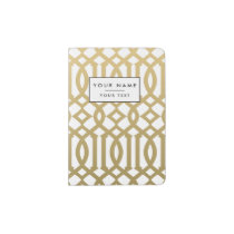 Gold and White Modern Trellis Pattern Passport Holder
