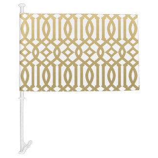 Gold and White Modern Trellis Pattern Car Flag
