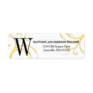 Gold and White Monogrammed Return Address Labels