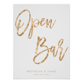 Gold And White Open Bar Sign 18x24