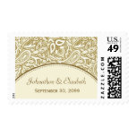 Gold and White Paisley Damask Wedding Postage Stamp