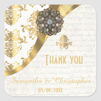 Gold and white parchment damask thank you square sticker