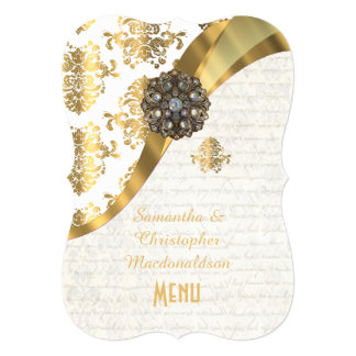 Gold and white parchment damask wedding menu card