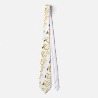 Gold and white peace dove tie