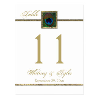 Gold and White Peacock Feather Table Number Postcard