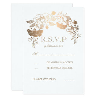 Gold and White Peonies Laurel Wedding RSVP Cards