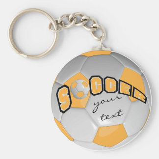 Gold and White Personalize Soccer Ball Basic Round Button Keychain