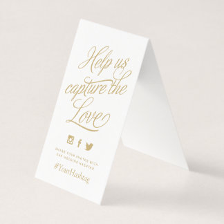 Gold and White Personalized Wedding Hashtag Sign