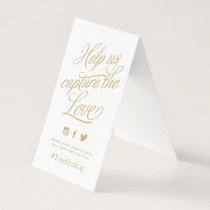 Gold and White Personalized Wedding Hashtag Sign Card