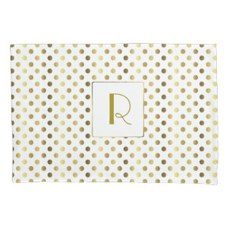 Gold and White Polka Dot Pillow Case