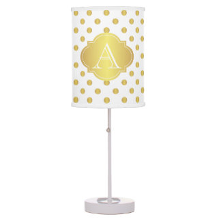 Gold And White Polka Dots Monogram Table Lamp