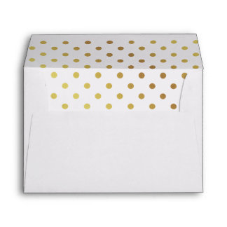 Gold and White Polka Dots Personalized Envelope