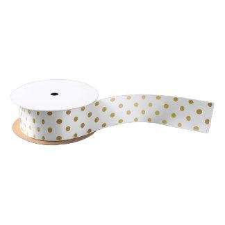 Gold and White Polka Dots Satin Ribbon