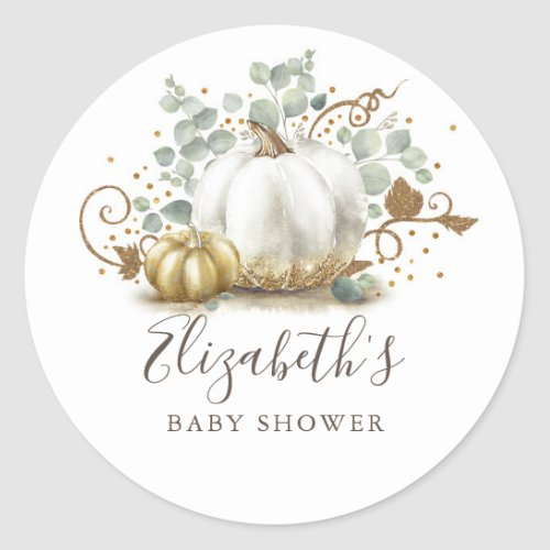 Gold and White Pumpkin Fall Baby Shower Classic Round Sticker