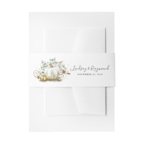 Gold and White Pumpkin Fall Harvest Invitation Belly Band