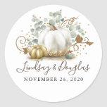 "Gold and White Pumpkin Fall Wedding Classic Round Sticker<br><div class=""desc"">Gold and white pumpkin fall wedding stickers</div>"