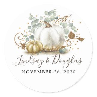Gold and White Pumpkin Fall Wedding Classic Round Sticker