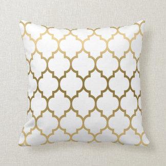 Gold And White Quatrefoil Geometric Pattern Pillow
