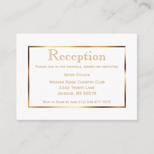 Gold and White _ Reception Enclosure Card
