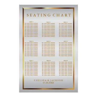 Gold and White Satin - 9 Seating Chart