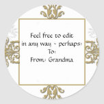 Gold and White Silver Damask Photo Logo Classic Round Sticker