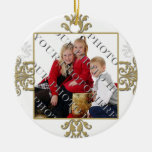Gold and White Silver Damask Photo Christmas Tree Ornament