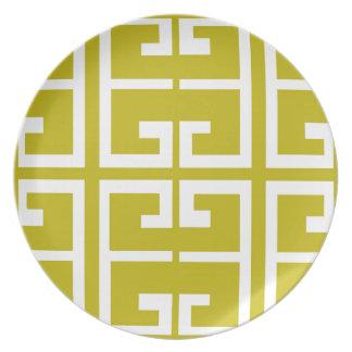 Gold and White Spanish Tile Melamine Plate