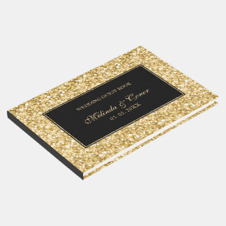 Gold And White Sparks Glitter Guest Book