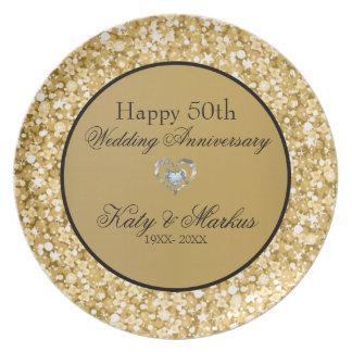 Gold And White Sparks Glitter- Wedding Anniversary Melamine Plate