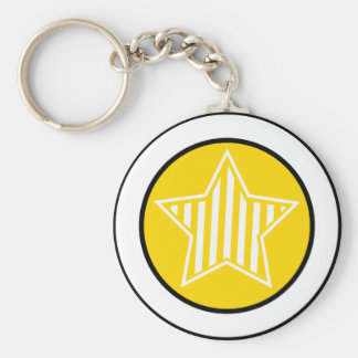 Gold and White Star Keychain