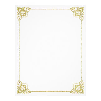 Gold and white stationery Writing paper 8,5x11