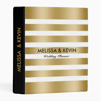 Gold And White Striped Pattern Black Accents Mini Binder