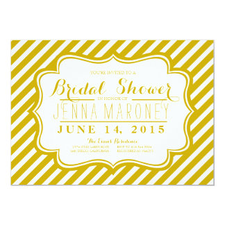 Gold and White Stripes Bridal Shower Card