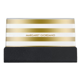 Gold And White Stripes Desk Business Card Holder