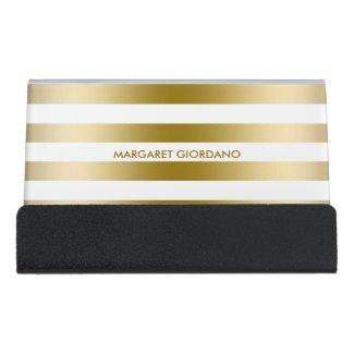 Gold And White Stripes Desk Business Card Holder