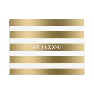 Gold And White Stripes Geometric Pattern Doormat