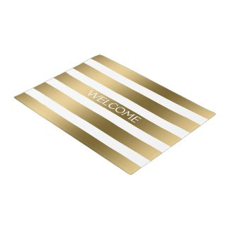 Gold And White Stripes Geometric Pattern