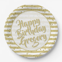 Gold and White Stripes Happy Birthday Paper Plate